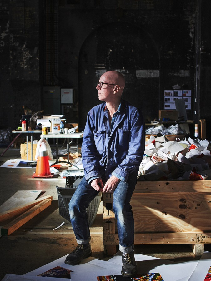 Stanley Donwood takes break from building. Thom Yorke's soundscape